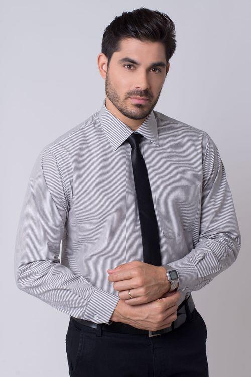 Camisa social masculina tradicional algodão fio 50 cinza r01281a