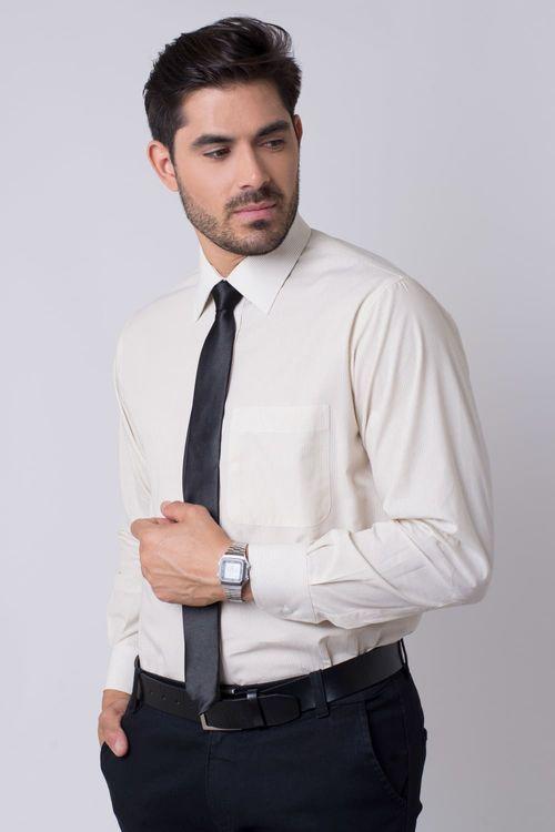 Camisa social masculina tradicional algodão fio 50 bege r01281a