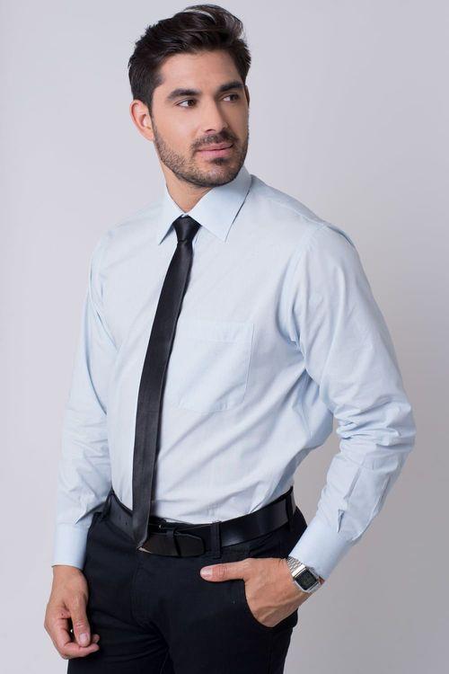 Camisa social masculina tradicional algodão fio 50 azul claro r01281a