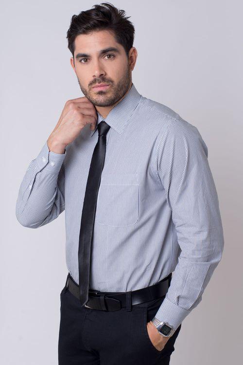 Camisa social masculina tradicional algodão fio 50 azul escuro r01281a