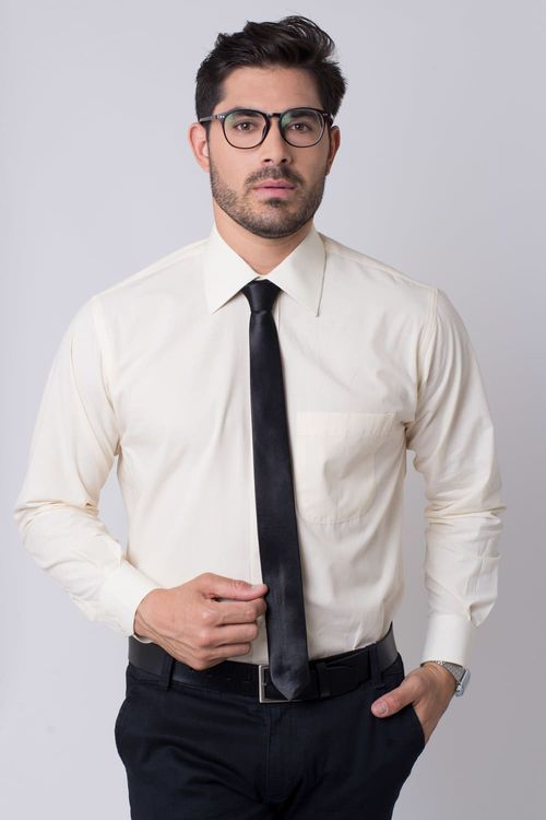 Camisa social masculina tradicional algodão fio 50 amarelo r01281a