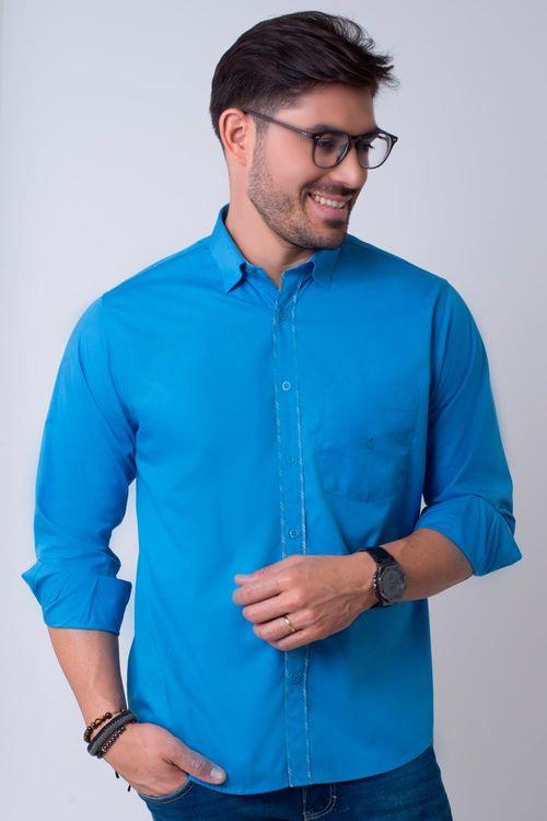 Camisa casual masculina tradicional algodão fio 40 azul médio f02043a