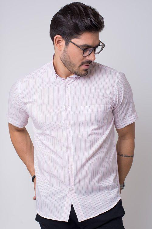 Camisa casual masculina tradicional microfibra rosa f07524a