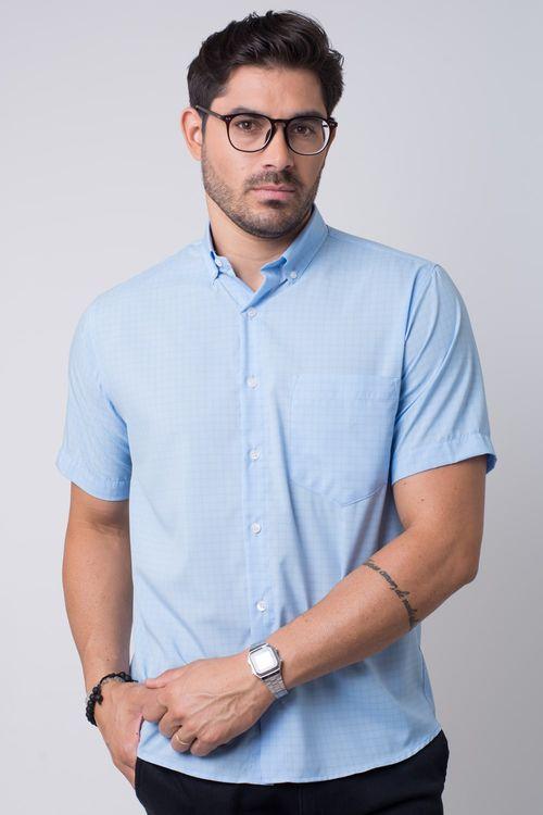 Camisa casual masculina tradicional microfibra azul claro f07527a
