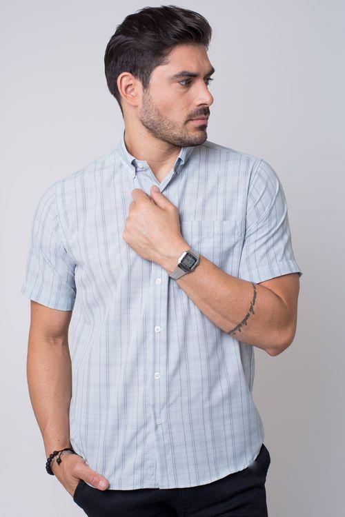 Camisa casual masculina tradicional microfibra cinza f07527a