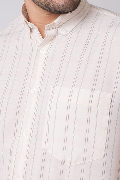 Camisa casual masculina tradicional microfibra creme f07527a
