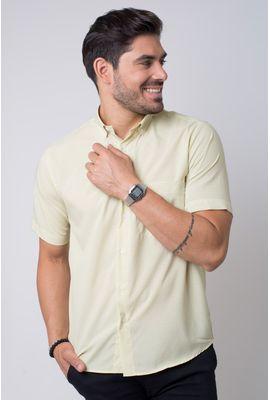 Camisa casual masculina tradicional microfibra amarelo f07527a