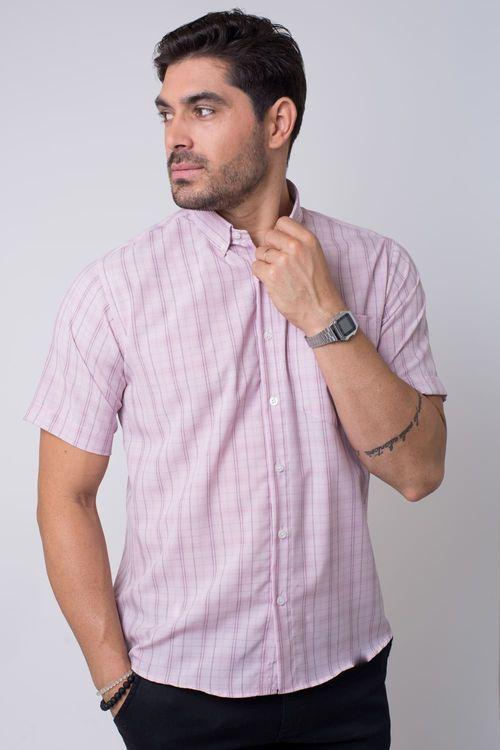 Camisa casual masculina tradicional microfibra rosa f07527a
