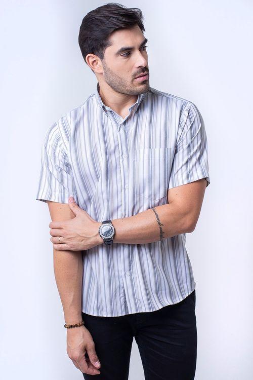 Camisa casual masculina tradicional microfibra grafite f07500a