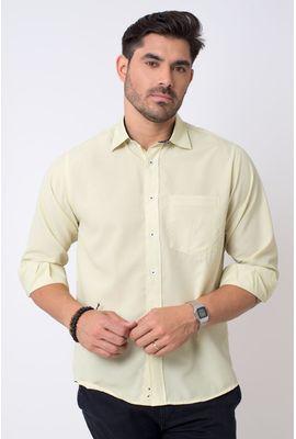 Camisa casual masculina tradicional microfibra amarelo f01790a