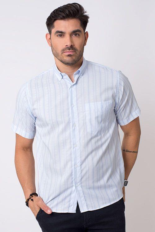 Camisa casual masculina tradicional microfibra azul claro f07279a