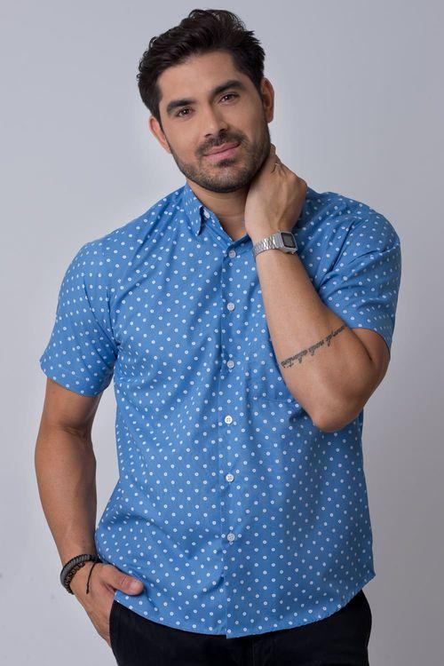 Camisa casual masculina tradicional estampada azul claro f02176a