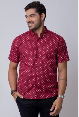 Camisa casual masculina tradicional estampada bordo f02176a