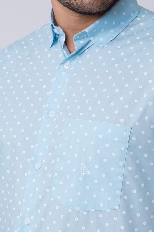 Camisa casual masculina tradicional estampada azul f02176a