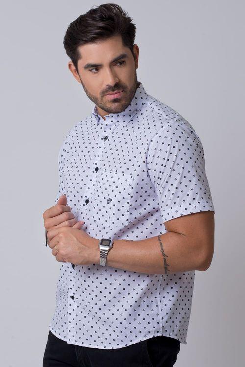 Camisa casual masculina tradicional estampada branco f02176a