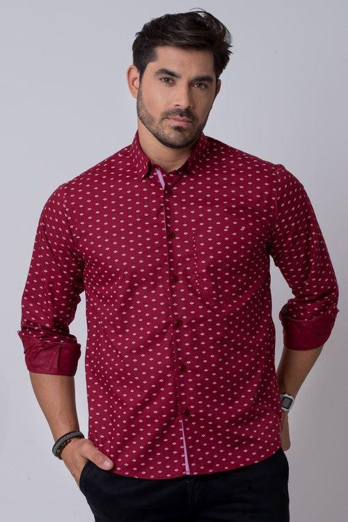 Camisa casual masculina tradicional algodão misto bordo f02145a