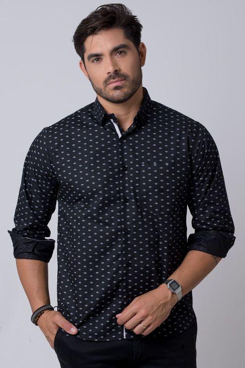 Camisa casual masculina tradicional estampada preto f02145a