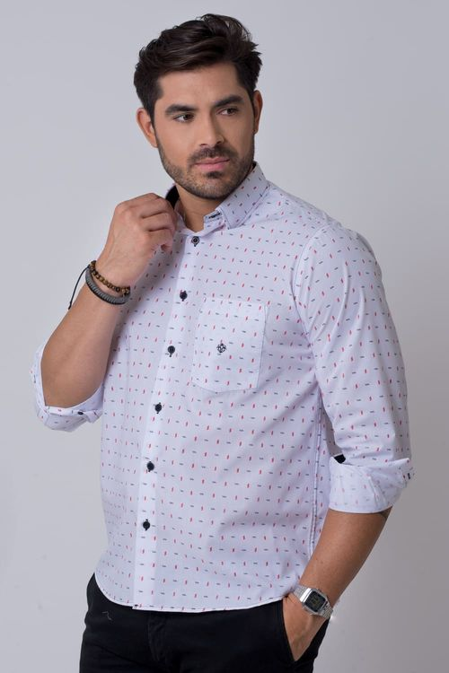 Camisa casual masculina tradicional estampada branco f02147a