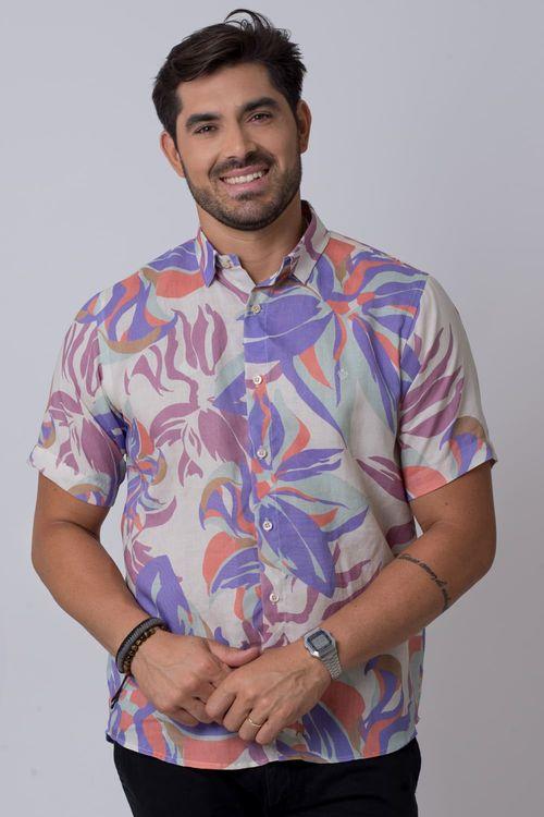 Camisa casual masculina tradicional rami lilás f02142a