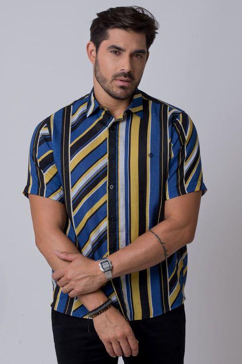 Camisa casual masculina tradicional rami amarelo f02142a