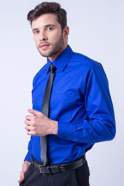 Camisa social masculina tradicional algodão fio 50 azul r08078a