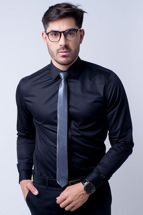 Camisa social masculina tradicional algodão fio 80 preto r09938a
