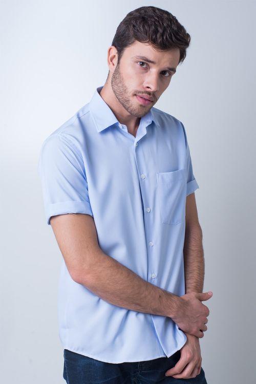 Camisa casual masculina tradicional passa fácil azul claro r09926a