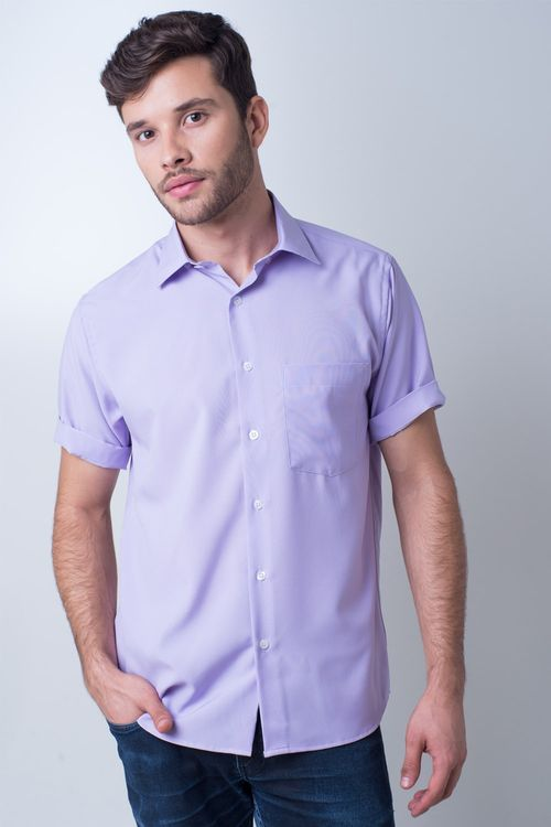 Camisa casual masculina tradicional passa fácil lilás r09926a
