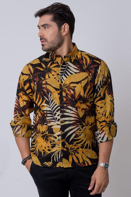 Camisa casual masculina tradicional rami mostarda f02141a