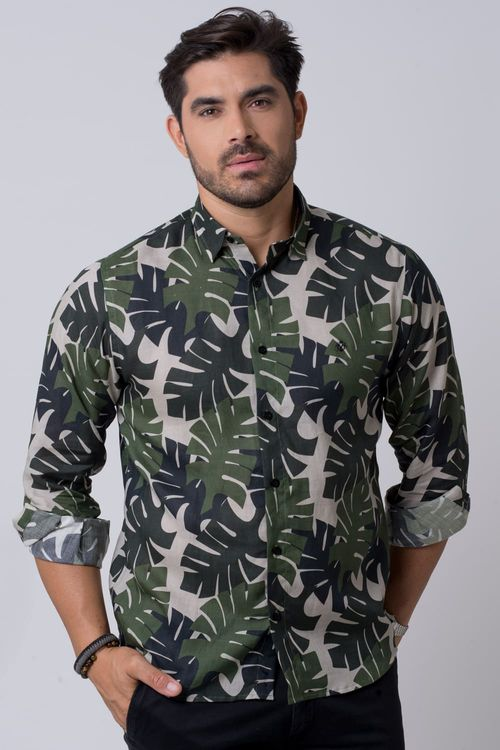 Camisa casual masculina tradicional rami verde f02141a