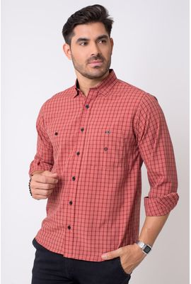 Camisa casual masculina tradicional microfibra vermelho f01791a