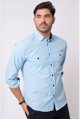 Camisa casual masculina tradicional microfibra azul claro f01791a
