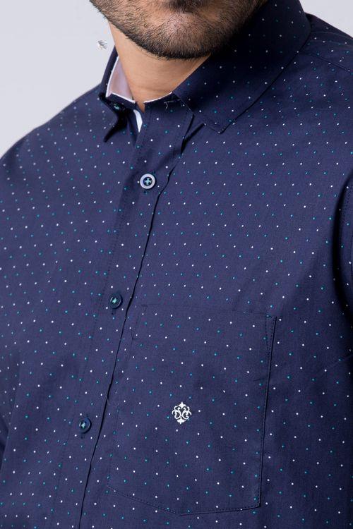 Camisa casual masculina tradicional algodão fio 60 azul escuro f02157a
