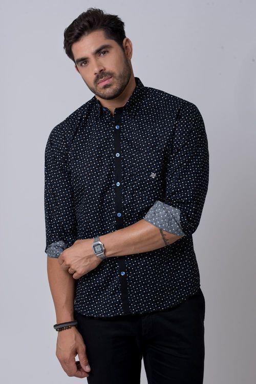Camisa casual masculina tradicional algodão fio 60 azul f02165a
