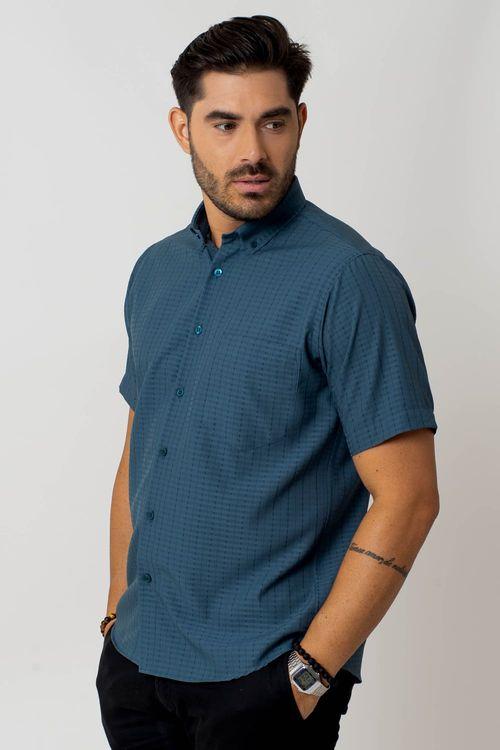 Camisa casual masculina tradicional microfibra verde f07279a