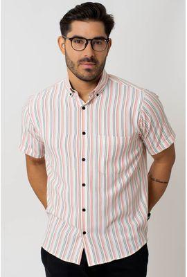 Camisa casual masculina tradicional microfibra laranja f07938a