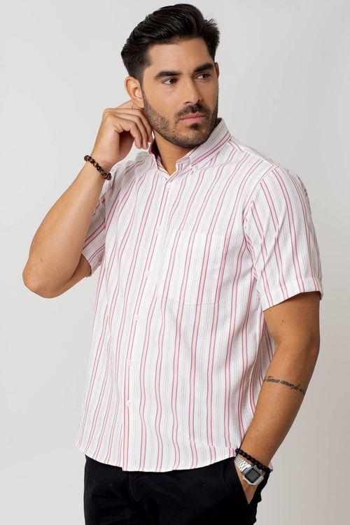 Camisa casual masculina tradicional microfibra vermelho f07939a