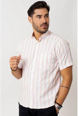 Camisa casual masculina tradicional microfibra salmão f07939a