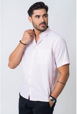 Camisa casual masculina tradicional microfibra rosa f07941a