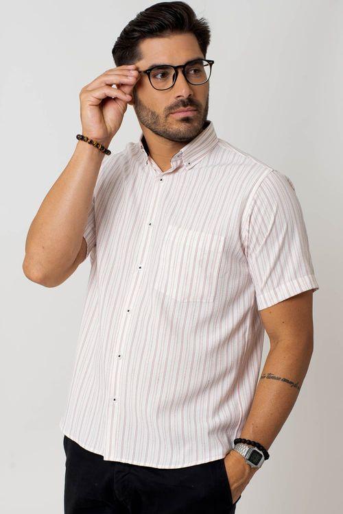 Camisa casual masculina tradicional microfibra laranja f07941a