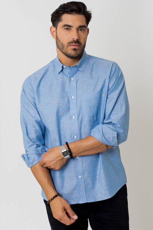 Camisa casual masculina tradicional oxford azul médio f02090a