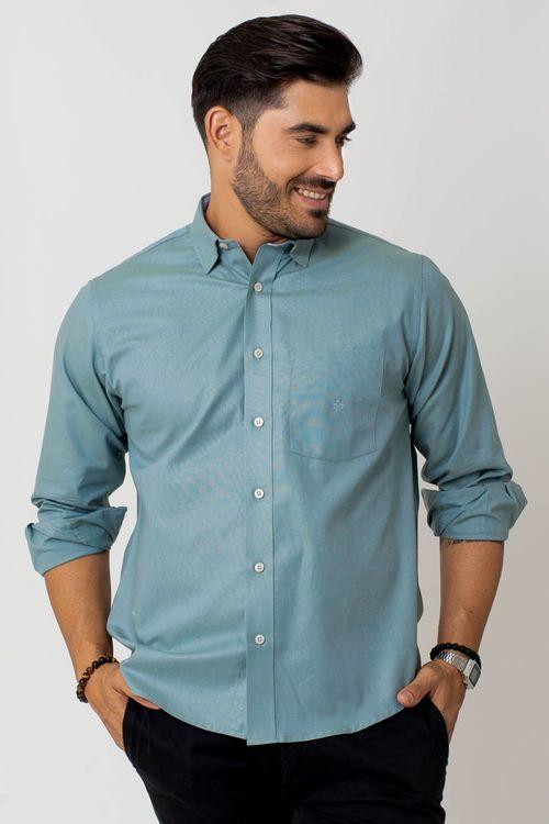 Camisa casual masculina tradicional oxford verde f02090a