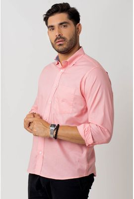 Camisa casual masculina tradicional algodão fio 40 rosa f02099a