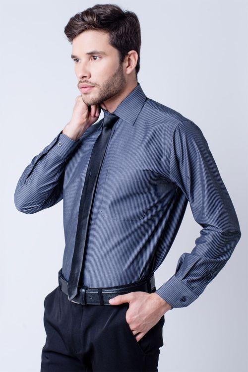 Camisa social masculina tradicional algodão fio 50 azul escuro f07872a