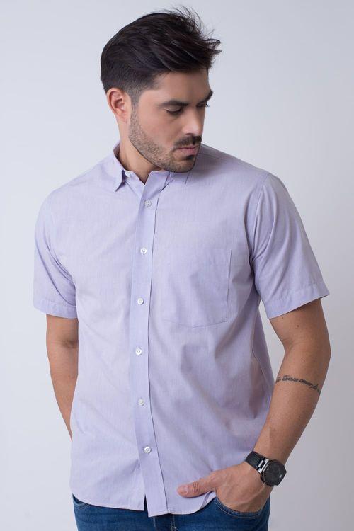 Camisa casual masculina tradicional algodão fio 50 lilás f07386a