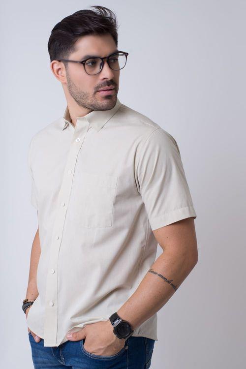 Camisa casual masculina tradicional algodão fio 50 bege f07386a
