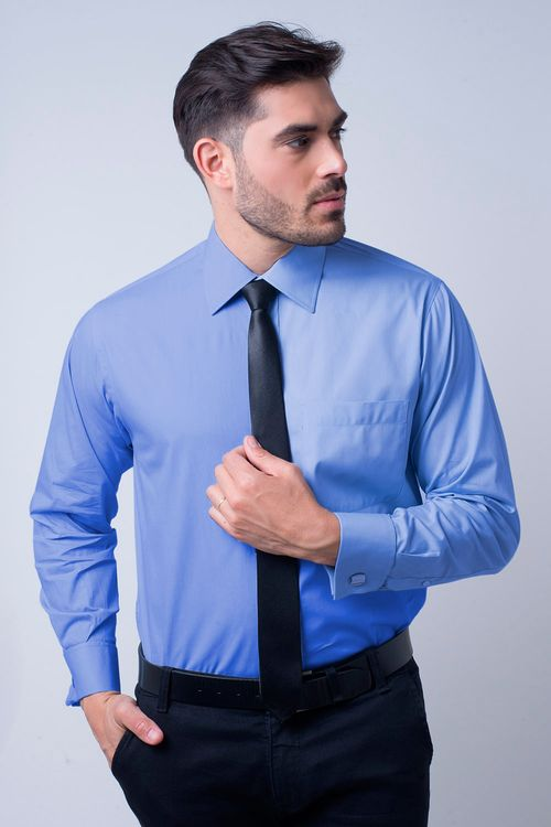 Camisa social masculina tradicional algodão fio 60 azul médio f06798a