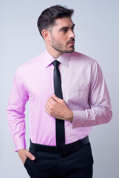 Camisa social masculina tradicional algodão fio 60 rosa f06798a