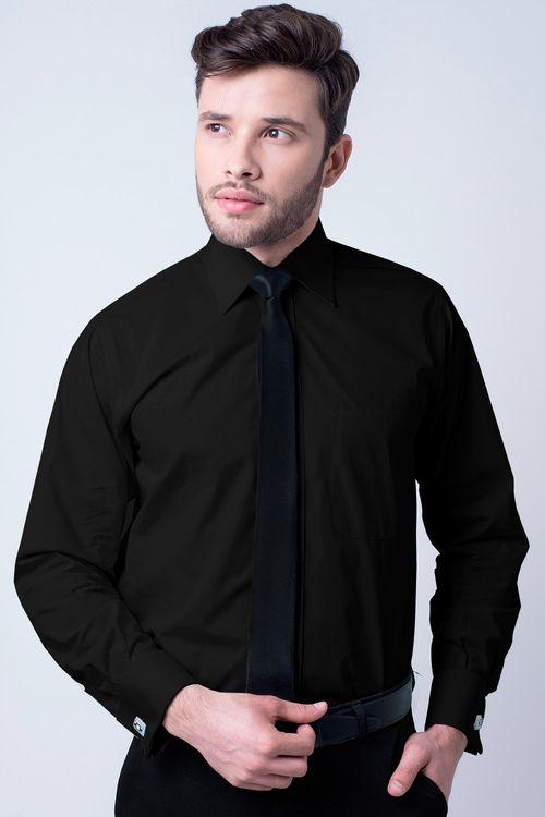 Camisa social masculina tradicional algodão fio 60 preto f06798a