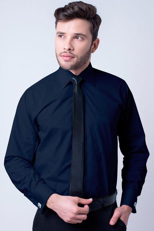 Camisa social masculina tradicional algodão fio 60 azul escuro f06798a